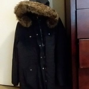 Faux Fur trench coat - large